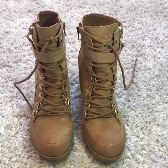 Guess Shoes - Guess Brown/Tan combat heels ACCEPTING OFFERS